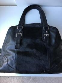 Black leather and pony hair oversized shoulder bag