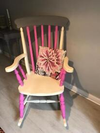 Shabby chic vintage wooden rocking chair nursery
