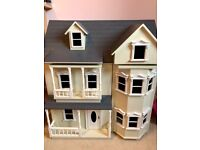 Wooden Doll's House with Furniture and Dolls
