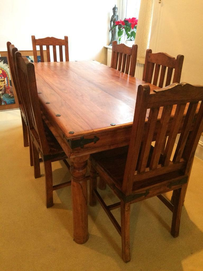 Mango Wood Cast Iron Dining Table With 6 Chairs