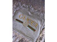 Women's GG Logo Top T Shirt Brand New Grey