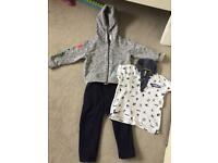 Ages 2 Navy Trousers, Grey Hoddie and Dark blue and white t-shirt
