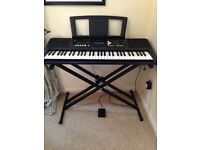 Yamaha PSRE333 Portable Keyboard with full accessories (stand, original Yamaha pedal and cover)