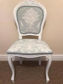 Laura Ashley Josette fabric shabby chic chair duck egg blue