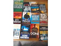 Over 25 paper backs all very good condition James Patterson and Clive Cuddler. Latest title s