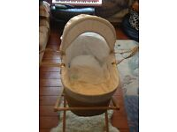 Mamas and Papas Moses Basket and Mothercare pine stand