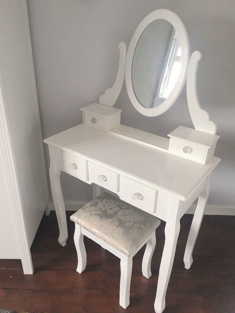 5 Drawer Dressing Table With Mirror Stool Vanity Make Up Desk