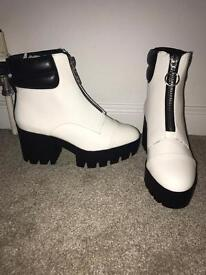 Chunky white leather boots