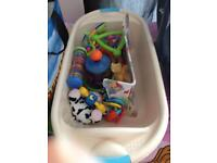 Baby bath, bath support and toys