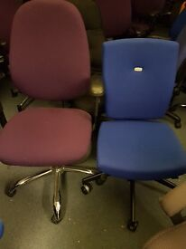Office swivel chairs and static reception meeting room chairs various colours and styles