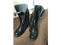 Undercover Black Leather boots - 3 buckles - Steel Toe, As New! Size 9