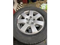 "VW T5 Alloys 16"" with good load rated tyres Transporter 5X120 PCD, refurbished"