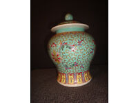 very attractive chinese ginger jar with lid in lovely blue colour height=19cm