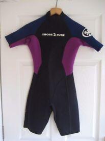 Shore 2 Surf Children's Unisex Shortie Wetsuit Size 10
