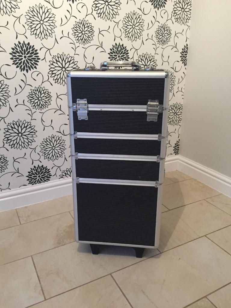 Makeup trolley filled with makeup
