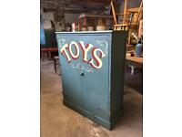 Antique Hand painted pine cupboard