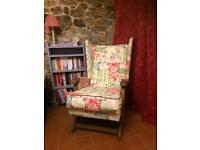 Re-Upholstered wing back rocking chair