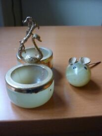 Onyx ornaments - Green Mouse and Swan holder
