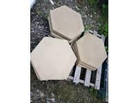 Buff hexagon paving slabs stepping stones