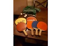 4 Vintage Table Tennis Bats with 2 Nets, 2 cases, 3 balls package