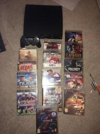 Slim Sony ps3 500gb console and games