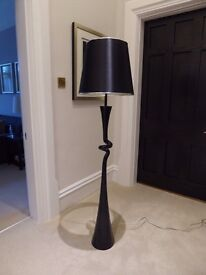 Standing Lamp - Black high-gloss wooden base, satin shade - Excellent Condition