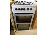 Beko double oven gas cooker silver