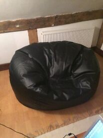 Black leather 2 seater bean bag