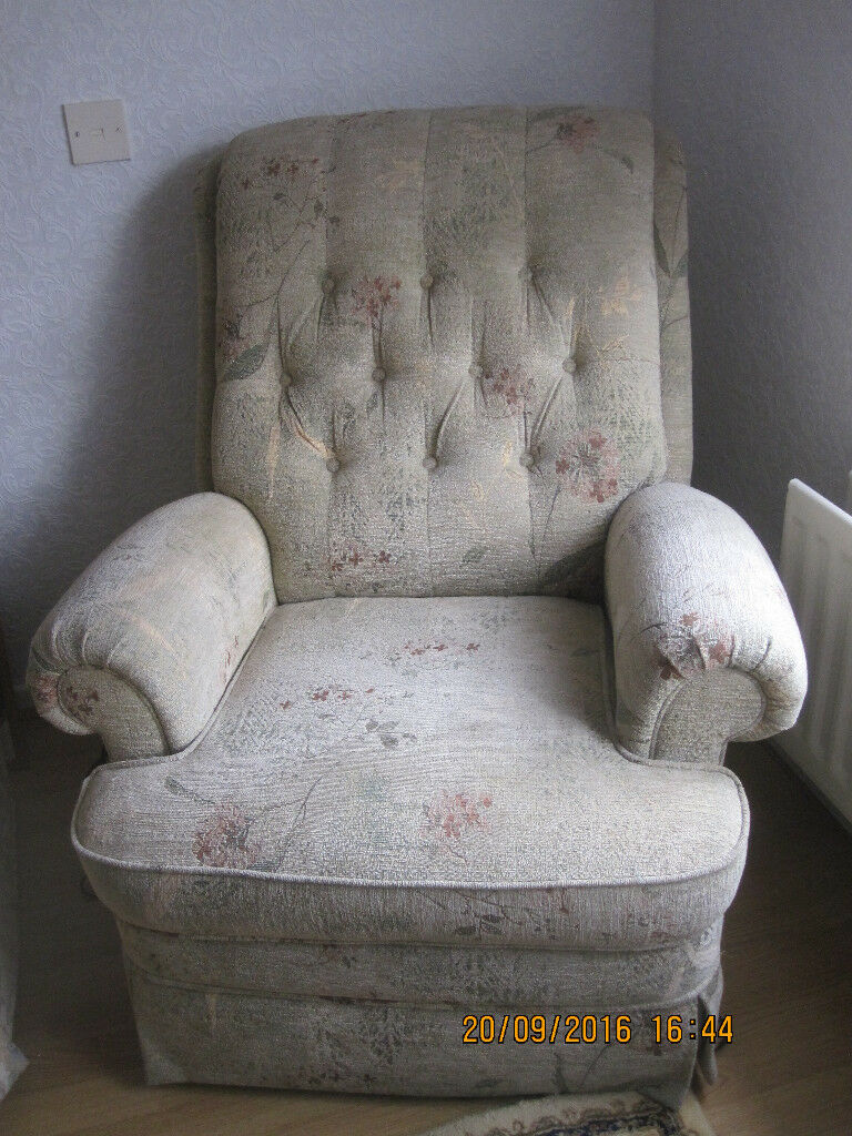 Fabric reclining armchair, almost new, in excellent condition, from pet and smoke free home, £80