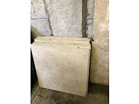 Cream limestone wall tiles