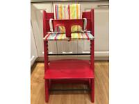 STOKKE TRIPP TRAPP High Chair RED w/Baby Set, Gliders, Cushions - Very Good Condition