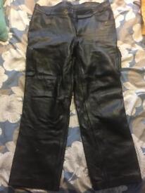 Men's leather motorbike trousers