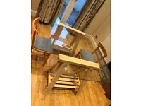 Glass Dinning Room Table (or desk) and Ikea Trestles
