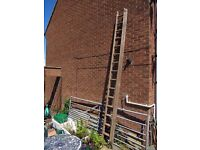Vintage, Very Long double Wooden 16 rung each piece Ladder , Heavy