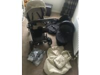 Babystyle Oyster Pushchair Pram Stroller Travel System, Carry Cot, 2 x Colour Packs Beige And Black