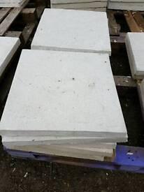 White 450x450x38mm Riven concrete paving slabs