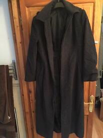 Next size 12 dark grey/black long wool blend coat with detachable hood