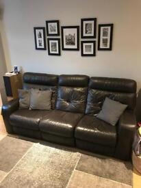 BROWN LEATHER ELECTRIC RECLINER SOFA SET