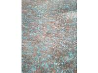 Round Big beautiful teal and brown shaggy rug in 150 diameter