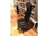 Home Office Chair in black leather