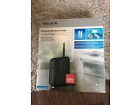 Belkin wireless router, still in box, unused.