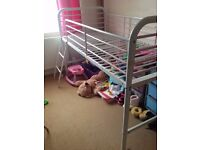 Pink and white midsleeper bed