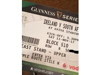 4 tickets to Ireland Vs South Africa Autumn test match