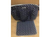 Blue dotted changing bag for sale