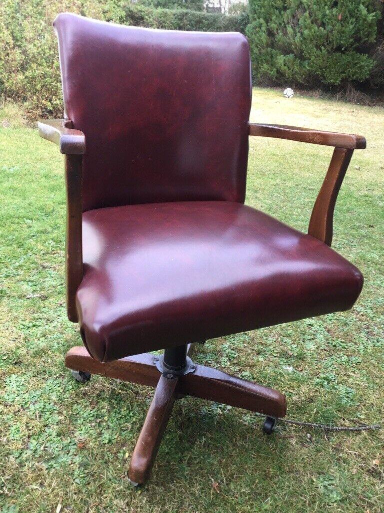 Surprising 1930S Style Wood And Leather Swivel Office Chair With Castors In Juniper Green Edinburgh Gumtree Frankydiablos Diy Chair Ideas Frankydiabloscom