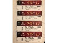 4 rugby tickets Wales vs New Zeland