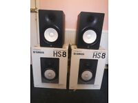Yamaha HS8's (stands+cables) + receipt and over 3 year warranty!