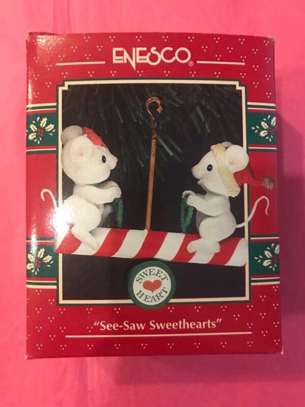 Enesco Treasury Ornament 1993 See Saw Sweethearts teeter totter mice candy cane