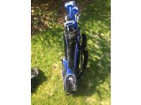 Junior John letters golf clubs and stand bag