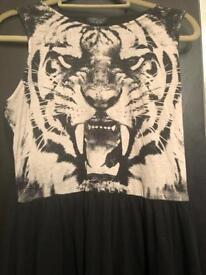 Topshop Tiger Skater Dress - Size 12